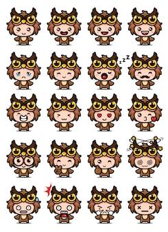 Set mascotte gufo carino