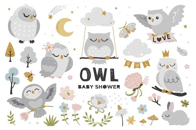 Simpatico set gufo per baby shower