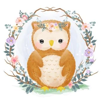 Simpatico gufo in stile acquerello per la decorazione della scuola materna