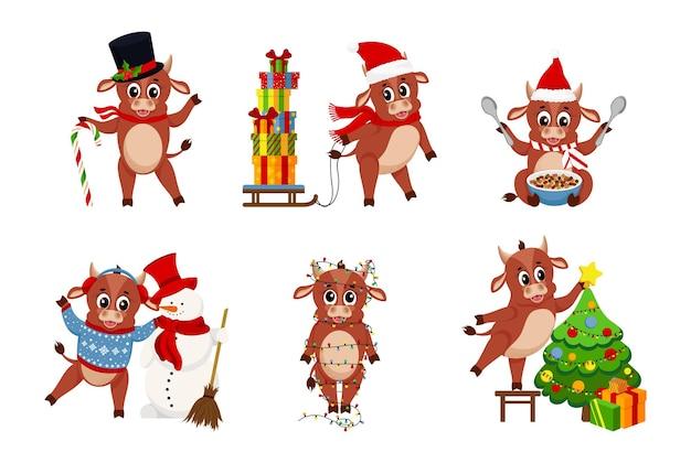 Bue carino. colore tori simbolo del capodanno cinese 2021, animali con corna, mucche e famiglia di bufali