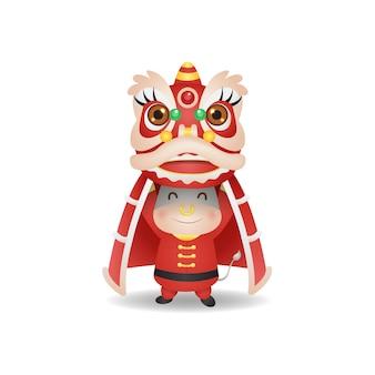 Bue sveglio che esegue attrazione di danza del leone per il nuovo anno lunare 2021. vettore di stile cinese isolato su bianco