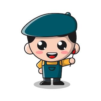 Illustrazione sveglia del fumetto del ragazzo del pittore