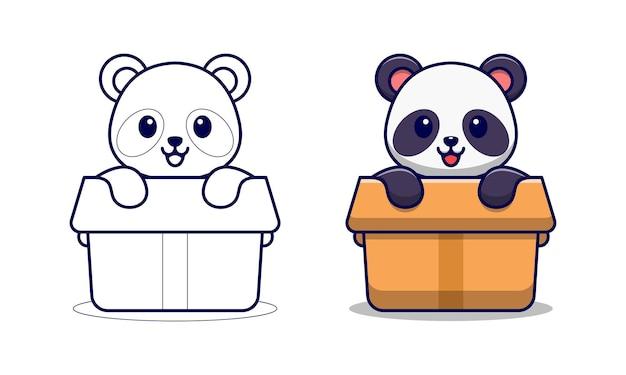 Pagina da colorare di cartoni animati carino pan in box per i bambini