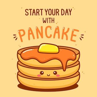 Carattere carino pancake con illustrazione del testo