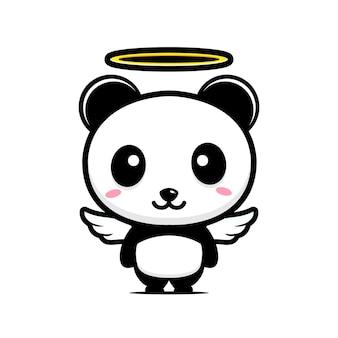 Simpatico personaggio di angelo panda design