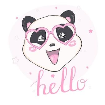 Panda carino, animale, vettore, illustrazione