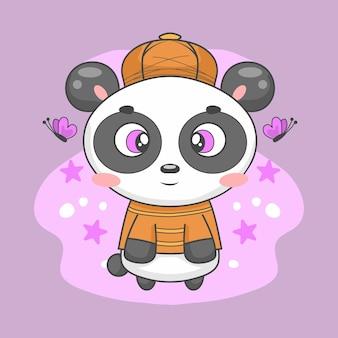 Simpatico panda sullo sfondo circondato da farfalle