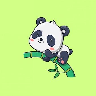 Panda sveglio nell'illustrazione dell'albero di bambù