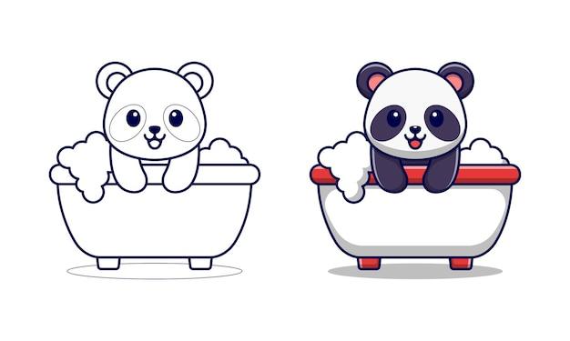 Panda carino nella vasca da bagno pagine da colorare di cartoni animati per bambini