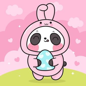 Simpatico cartone animato orso panda in costume da coniglietto di pasqua