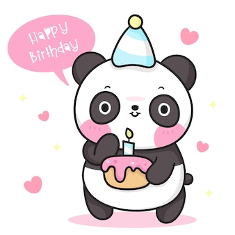 Simpatico orso panda cartoon holding torta di compleanno kawaii animale