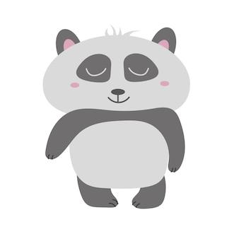 Simpatico orso panda, illustrazione vettoriale. vettore animale. panda disegnato a mano