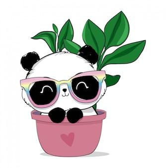 Simpatico orso panda con illustrazione di occhiali.