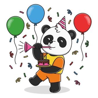 Festa di compleanno di panda carino