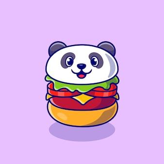 Illustrazione sveglia dell'icona del fumetto dell'hamburger del panda. concetto di icona cibo animale isolato. stile cartone animato piatto