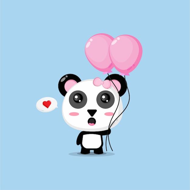 Panda carino che trasportano palloncini