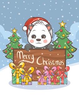 Simpatico personaggio dei cartoni animati di panda - illustrazione di natale