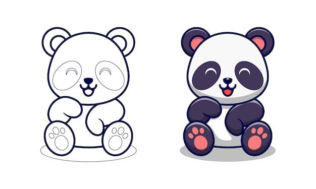 Pagina da colorare di cartoni animati carino panda per bambini