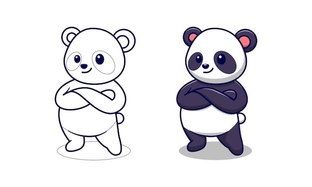 Simpatico cartone animato panda da colorare per bambini