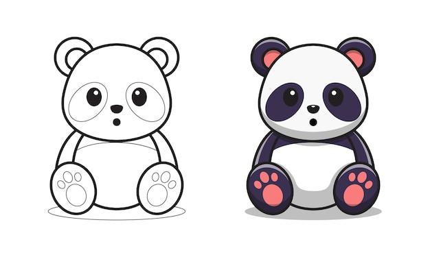 Simpatico cartone animato panda pagine da colorare per bambini