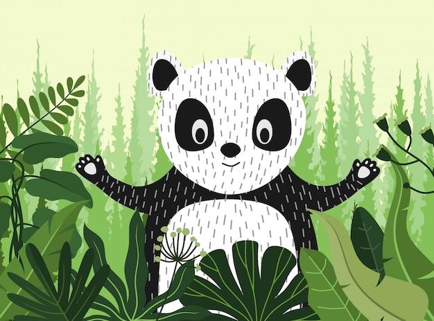 Simpatico cartone animato panda tra la giungla con foglie e alberi.