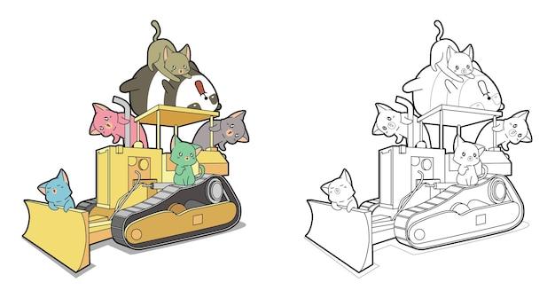 Panda carino e gatti sul cartone animato trattore da colorare pagina