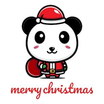 Simpatico panda che festeggia il natale