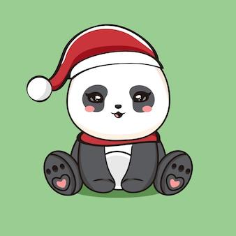 Illustrazione del personaggio simpatico panda con auguri di buon natale vettore premium