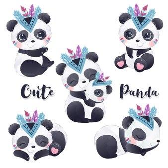 Simpatico panda clipart nell'illustrazione dell'acquerello
