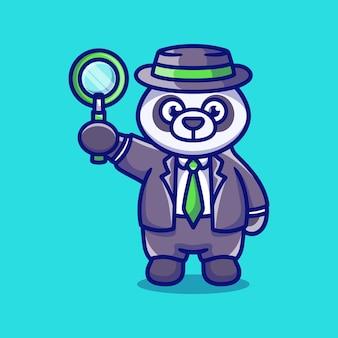 Simpatico detective panda con una lente d'ingrandimento