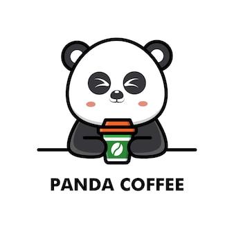 Simpatico panda bere tazza di caffè fumetto animale logo caffè illustrazione