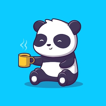 Panda drink coffee icon illustration sveglio. panda e tazza di caffè, concetto animale icona isolato