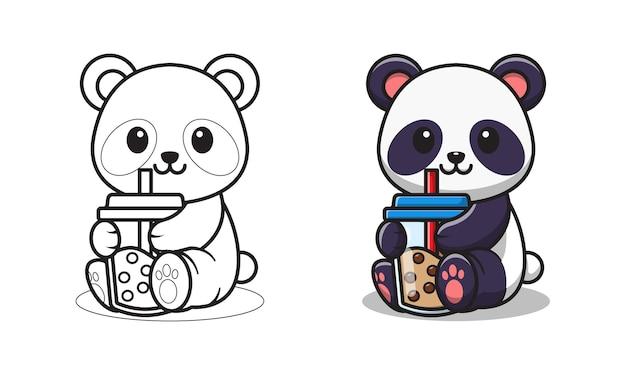 Pagine da colorare di cartoni animati per bambini che bevono tè con bolle di panda carino