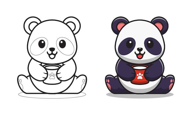 Simpatico panda che beve latte cartone animato da colorare per bambini
