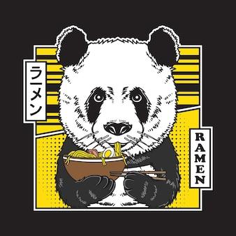 Il panda sveglio mangia l'illustrazione del ramen della tagliatella del giappone in stile fumetto piatto