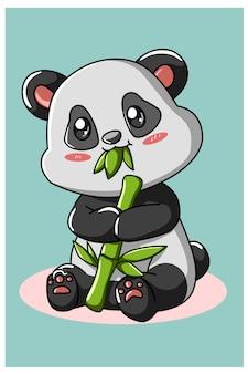 Panda carino mangiare bambù isolato su turchese