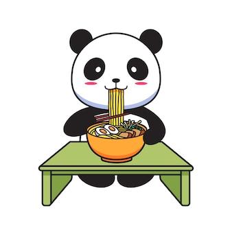 Panda carino mangiare noodles