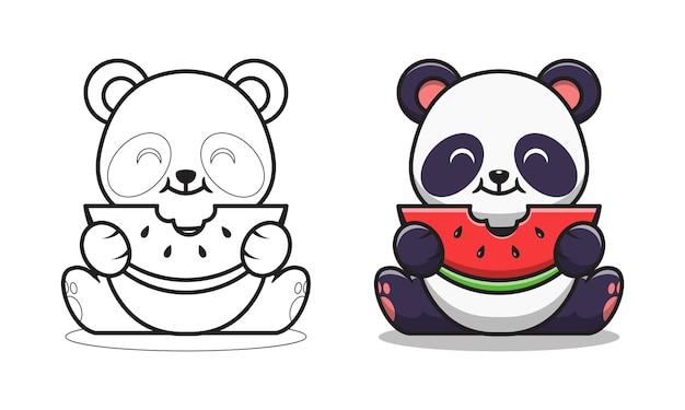 Simpatico panda che mangia anguria da colorare per bambini