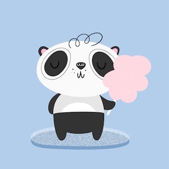 Panda carino mangia zucchero filato. illustrazione vettoriale Vettore Premium
