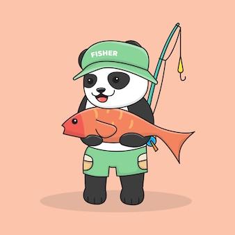 Pesca del panda carino con canna da pesca e cappello
