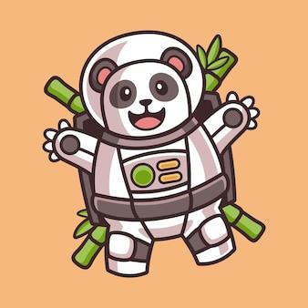 Simpatico panda che galleggia nel personaggio dei cartoni animati in costume da astronauta