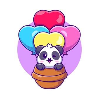 Panda sveglio che vola con il fumetto del pallone di amore