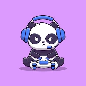 Panda gaming illustration sveglio. gioco degli animali. stile cartone animato piatto