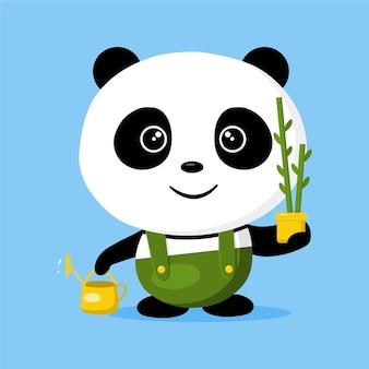 Giardiniere carino panda con il suo annaffiatoio e pianta di bambù