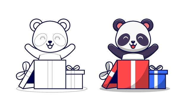 Panda sveglio nella pagina di colorazione del fumetto di scatola regalo per i bambini
