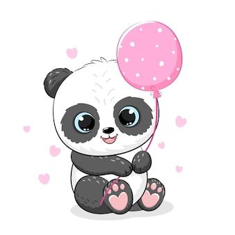 Ragazza carina panda con palloncini. illustrazione vettoriale di un cartone animato.