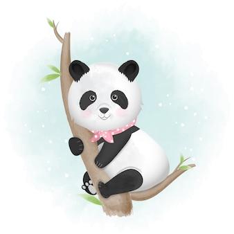 Illustrazione animale disegnata a mano del panda sveglio