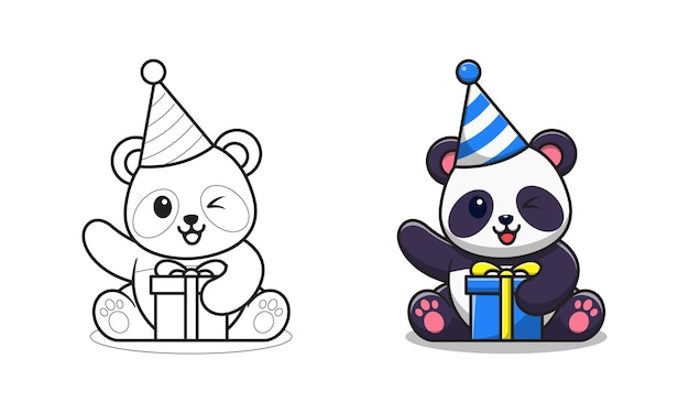 Il simpatico panda ha un cartone animato di compleanno da colorare