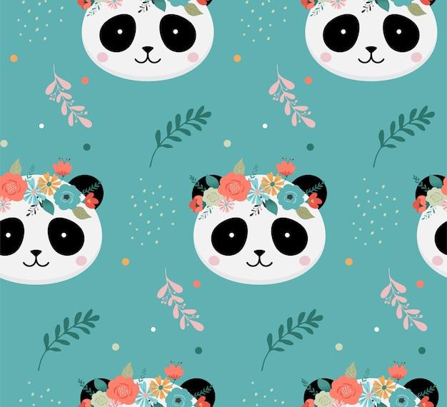 Teste di panda carino con reticolo senza giunte di corona di fiori Vettore Premium