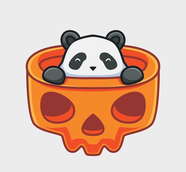 Il simpatico panda si nasconde all'interno del teschio gigante degli animali dei cartoni animati concetto di evento di halloween illustrazione isolata